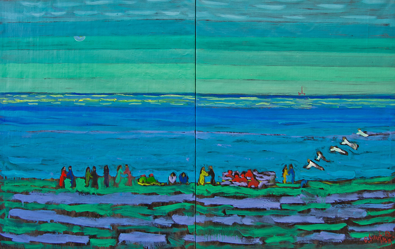 GullHav ved sjøsamisk oljestrand - 115x170